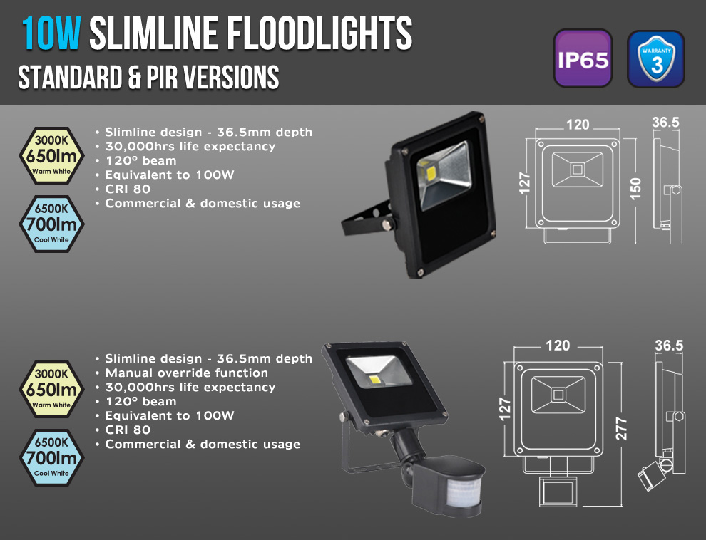 10W Slimline Floodlights