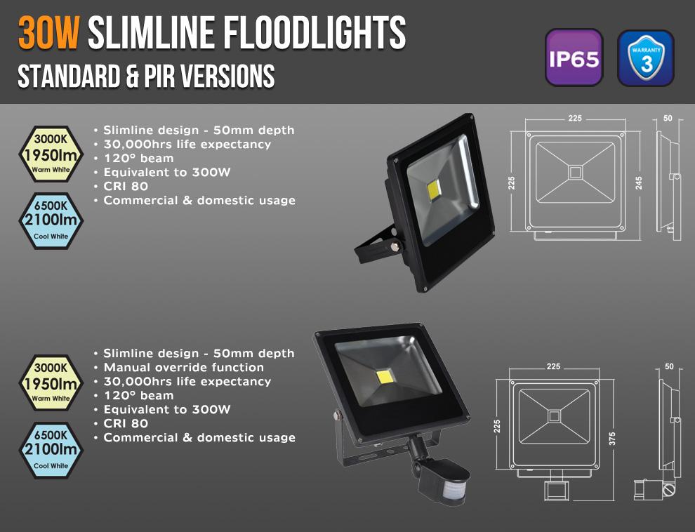 30W Slimline Floods