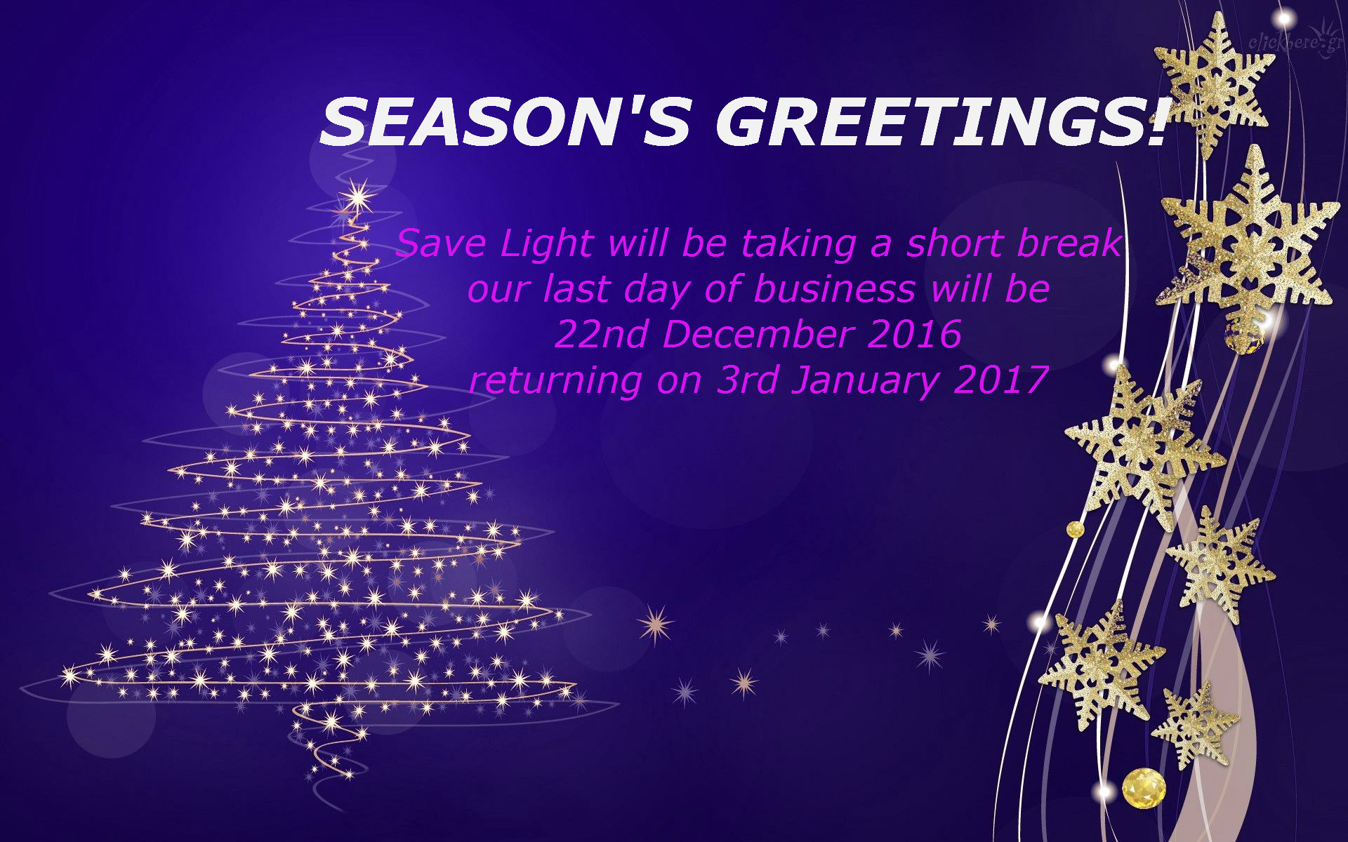 Seasons Greetings From Save Light Save Light Uk Light Years Ahead